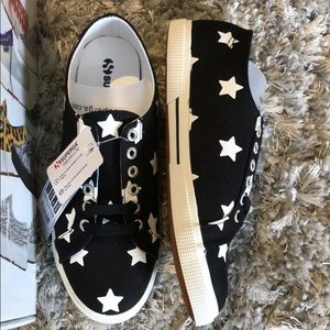 Superga Shoes - NWT Superga | Black & White Sneakers w/ Stars